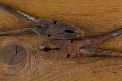 Old rusty pliers tools Royalty Free Stock Photography