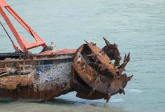 Old rusty propeller ship abandoned Royalty Free Stock Image