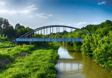 Old rusty railway bridge over the river in Hungary Stock Images