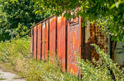 Old rusty railway wagon derelict abandoned in nature Royalty Free Stock Photography