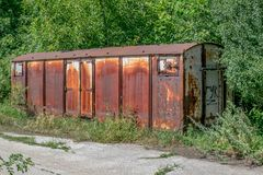 Old rusty railway wagon derelict. Royalty Free Stock Photos