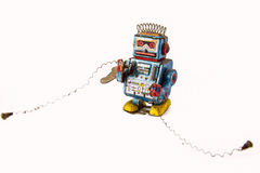 old rusty on robot toy on background Royalty Free Stock Photography