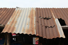 Old rusty roof. Old rusty zinc roof texture Royalty Free Stock Image