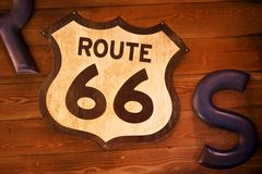 Old and Rusty Route 66 Sign Royalty Free Stock Images