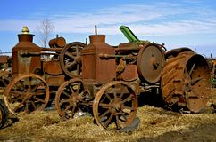 Old rusty Rumely Oil Pull tractor Stock Image