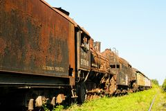 Old rusty Russian train. Royalty Free Stock Image