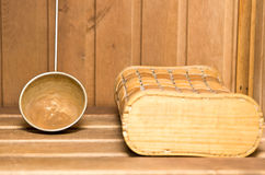 Old rusty sauna ladle Stock Images
