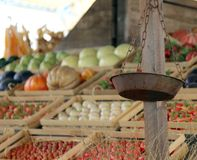 rusty scales of a fruit and vegetable stall in the local market Royalty Free Stock Photography