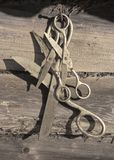 Old rusty scissors hanging royalty free stock photos