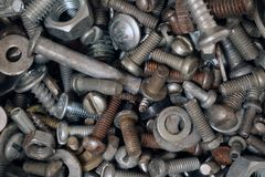 Old rusty screw. Building waste. Royalty Free Stock Photography