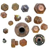 Old rusty Screw heads, bolts, Stock Images