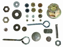 Old rusty Screw heads, bolts, Royalty Free Stock Images