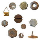 Old rusty heads, bolts, old metal pin Royalty Free Stock Images