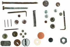 Old rusty Screw heads, bolts, steel nuts, isolated Royalty Free Stock Photo
