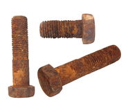Old rusty Screw heads, bolts, wheels screw Stock Images