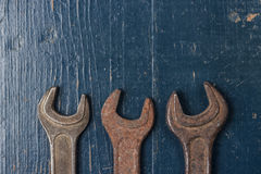 Old rusty screw keys Stock Images