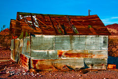 Old Rusty Shed. An old shed found in the ghost town Rhyolite, Nevada.  Image has been enhanced in Lightroom Royalty Free Stock Photos