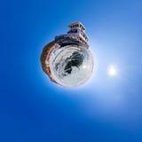 Old rusty ship on the coast of Lake Baikal among ice. Stereograp Stock Photos