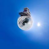 Old rusty ship on the coast of Lake Baikal among ice. Stereograp Royalty Free Stock Image