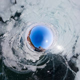 Old rusty ship on the coast of Lake Baikal among ice. Stereograp Royalty Free Stock Photography