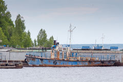 Old rusty ship on the river Volga Royalty Free Stock Image