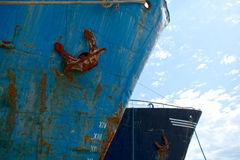 Old rusty ships bows Stock Photos
