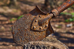 Old rusty shovel soldier . Stock Photo