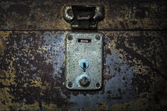 Old rusty shutter lock keyhole extreme closeup Royalty Free Stock Images