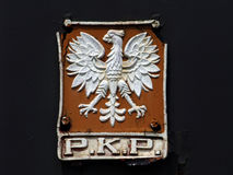 Old, rusty sign of polish railways PKP Stock Image