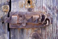 Old rusty sliding door lock