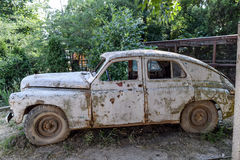Old rusty Soviet car Victory. Rare exhibit Stock Photo