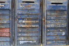 Soviet letterbox texture. An old rusty soviet letterbox with illegible names written on it Royalty Free Stock Photography