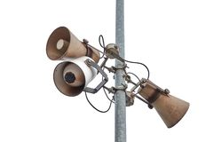 Old Rusty Speakers. Old loudspeakers at a railway station Stock Photos