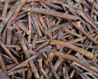 Old rusty square nails Royalty Free Stock Photos