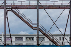 Old Rusty Stairs Over Warehouse Stock Photos