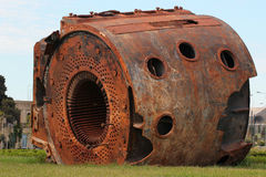 Old rusty stator of large electric generator royalty free stock image