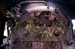 Old rusty steam engine. Destroyed machinery in old steam engine royalty free stock photography