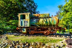 Old and Rusty Steam Locomotive. Displayed near the overpass of the Hierderweg over the A28 or E232 Freeway between Zwolle and Amesfoort near Duinen stock photography