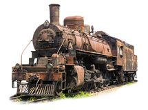 Old rusty steam locomotive on white background Royalty Free Stock Photos