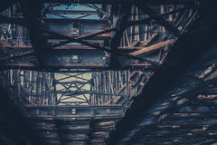 Old rusty steel beam construction, rusted steel bridge Royalty Free Stock Images