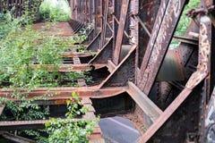 Old rusty steel bridge construction - rusted steel beams Stock Images
