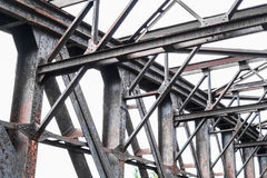 Old rusty steel bridge construction - rusted steel beams. Old rusty steel bridge construction , rusted steel beams Stock Photography
