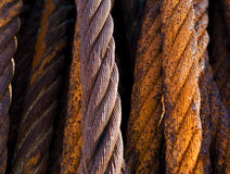 Old rusty steel cables. Close up of old rusty steel cables. Grungy, industrial background texture Stock Image