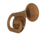Old rusty steel car horn isolated on a white background. Royalty Free Stock Photography