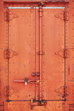 Old rusty steel rail car doors Stock Images