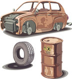 Old and rusty stuff stock illustration