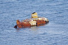 Old Super small submarine. Old and rusty Super small submarine royalty free stock image