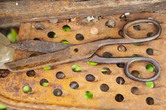 Old rusty tailor scissors. Work Tool royalty free stock image