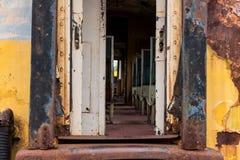 old rusty Thai railway train entrance Stock Photo