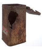 Old rusty tin can. With white background Royalty Free Stock Photography